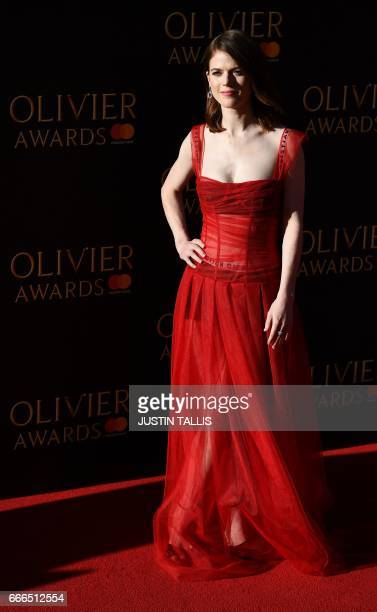 British actress Rose Leslie poses on the red carpet upon arrival to attend the 2017 Laurence Olivier Awards in London on April 9 2017 / AFP PHOTO /...