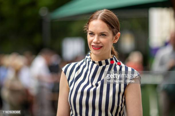 July 09: British actress Ruth Wilson arrives at Wimbledon during the Wimbledon Lawn Tennis Championships at the All England Lawn Tennis and Croquet...