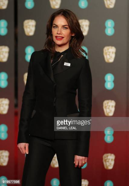 British actress Ruth Wilson poses on the red carpet upon arrival at the BAFTA British Academy Film Awards at the Royal Albert Hall in London on...