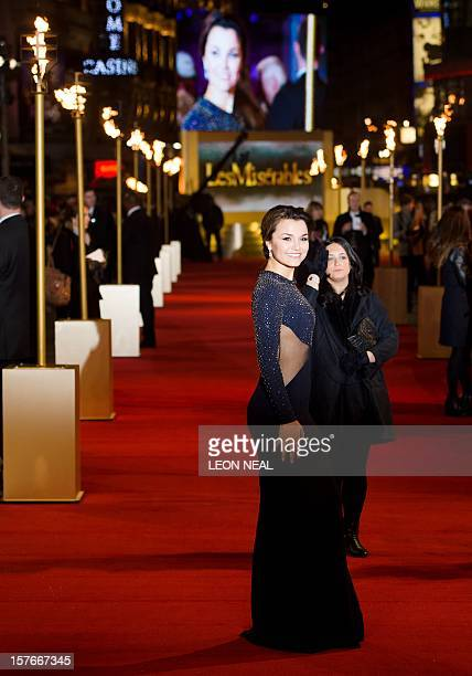 British Actress Samantha Barks poses for photographers on the red carpet ahead of the world premiere of 'Les Miserables' in central London on...