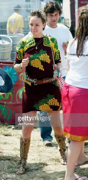 British actress Samantha Morton strolling around The Glastonbury Festival 2003 on June 27 2003 at Pilton in Shepton Mallett Glastonbury in England