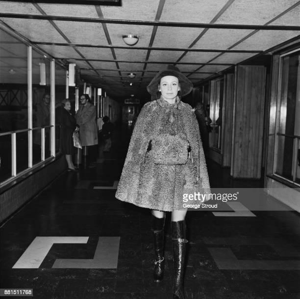 British actress Sarah Miles at Heathrow Airport London UK 11th January 1971