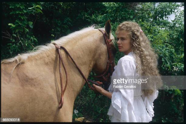 British actress Serena Scott Thomas poses for a portrait on the set of the 1996 German television miniseries Nostromo directed by Alastair Reid and...