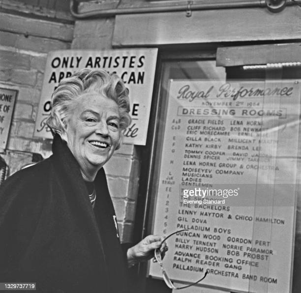 British actress, singer and comedian Gracie Fields during rehearsals for the Royal Variety Performance at the London Palladium, London, UK, 2nd...