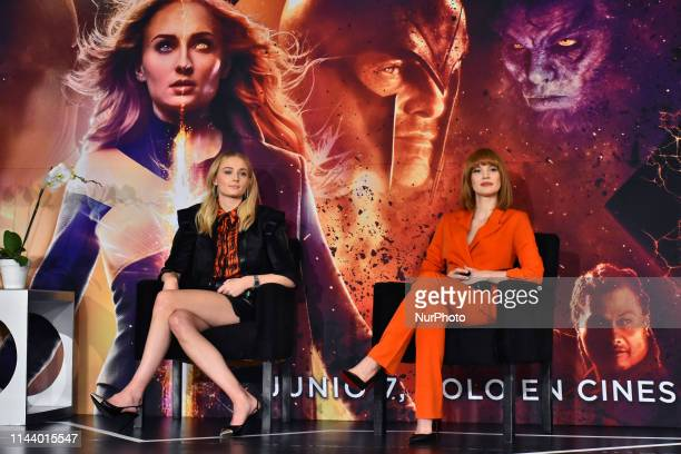British actress Sophie Turner and American actress Jessica Chastain seen during a press conference to promote X-Men: Dark Phoenix at Four Season...