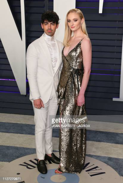 British actress Sophie Turner and boyfriend singer Joe Jonas attend the 2019 Vanity Fair Oscar Party following the 91st Academy Awards at The Wallis...
