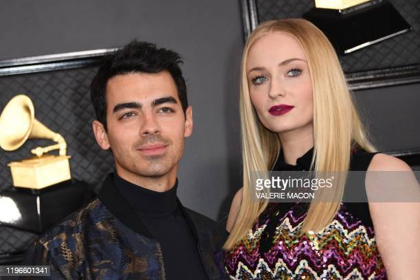 British actress Sophie Turner and her husband US singer Joe Jonas arrives for the 62nd Annual Grammy Awards on January 26 in Los Angeles.