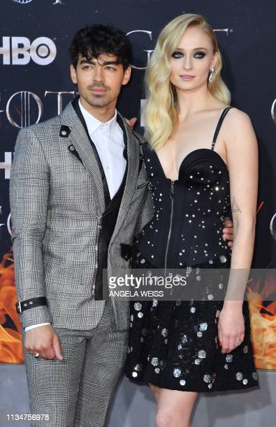 British actress Sophie Turner and singer Nick Jonas arrive for the Game of Thrones eighth and final season premiere at Radio City Music Hall on April...