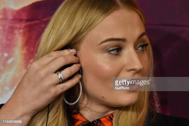 British actress Sophie Turner speaks during a press conference to promote X-Men: Dark Phoenix at Four Season Hotel on May 15, 2019 in Mexico City,...