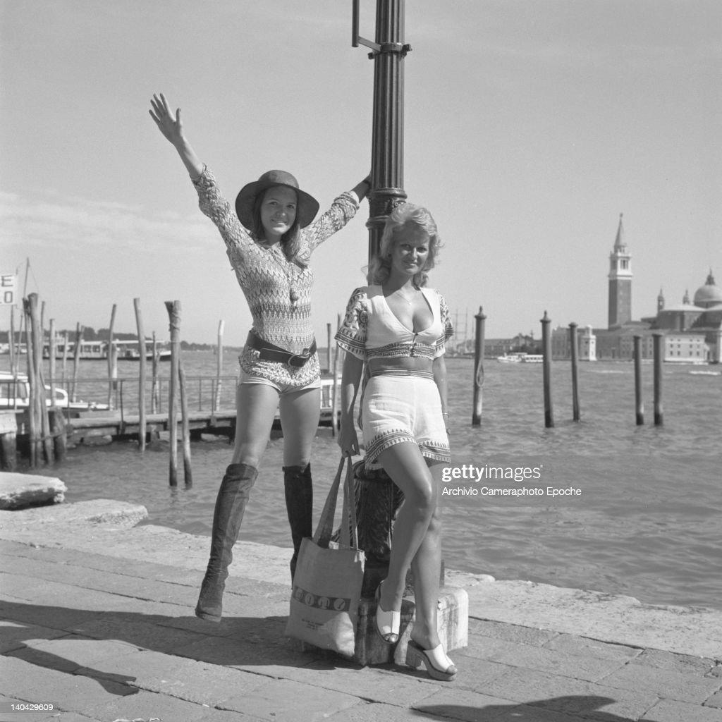 British actress Stephanie Beacham (blonde) posing with Verna Harvey on Riva degli Schiavoni, Venice, 1971.