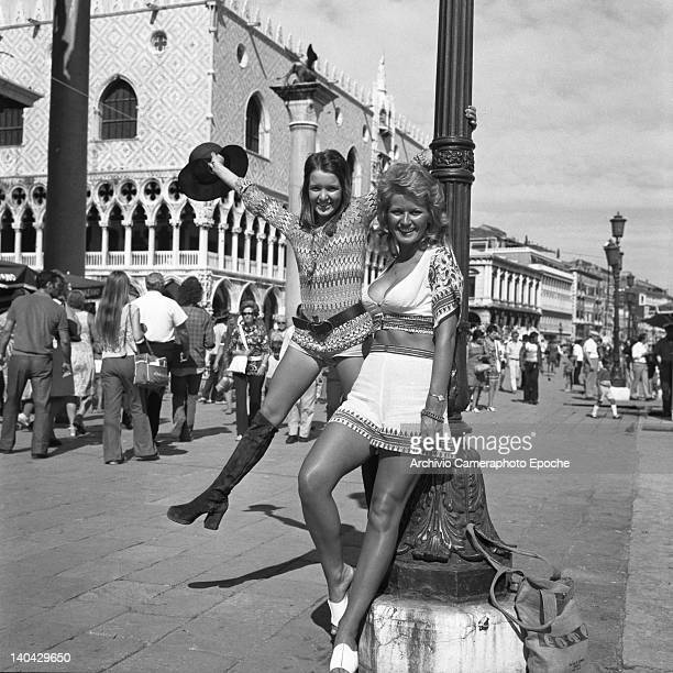 British actress Stephanie Beacham posing with Verna Harvey on Riva degli Schiavoni Venice 1971