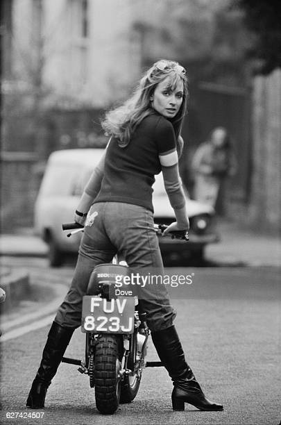 British actress Suzy Kendall on her 50cc Honda monkey bike 2nd April 1971