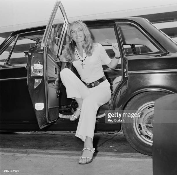 British actress Suzy Kendall stepping out of a car upon her arrival at Heathrow Airport London UK 18th August 1969