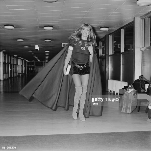 British actress Suzy Kendall wearing hotpants and long mantle at Heathrow Airport London UK 15th February 1971