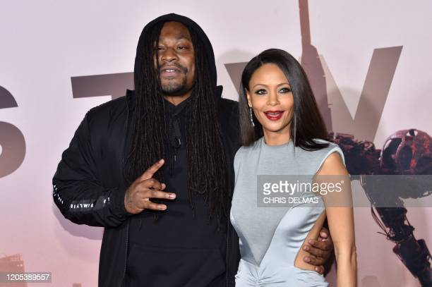 British actress Thandie Newton and Seattle Seahawks running back Marshawn Lynch arrive for the Los Angeles season three premiere of the HBO series...