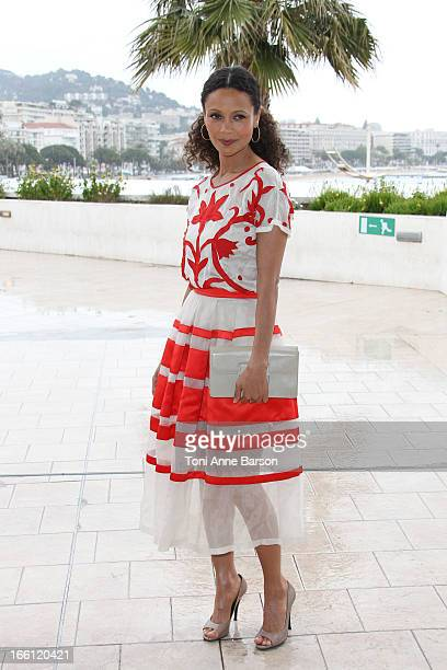 British actress Thandie Newton attends Rogue' Photocall on the Croisette during the 50th MIPTV on April 8 2013 in Cannes France