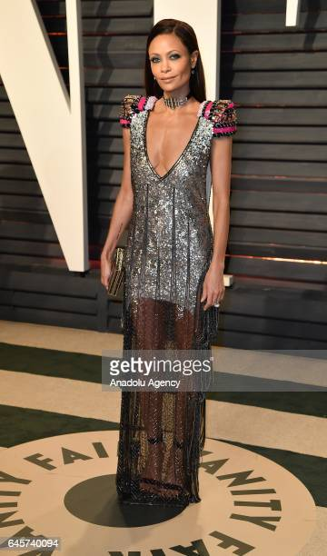 British actress Thandie Newton poses as she arrives at the Vanity Fair Oscar Party in Beverly Hills California Los Angeles on February 26 2017