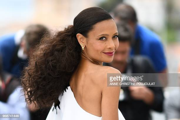 TOPSHOT British actress Thandie Newton poses on May 15 2018 during a photocall for the film Solo A Star Wars Story at the 71st edition of the Cannes...
