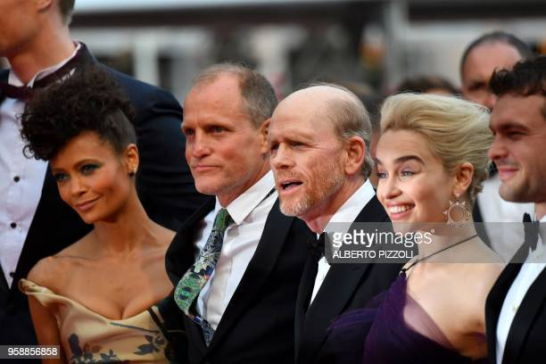 British actress Thandie Newton US actor Woody Harrelson US director Ron Howard British actress Emilia Clarke and US actor Alden Ehrenreich pose as...