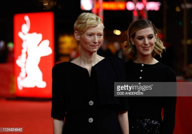 "British actress Tilda Swinton and her daughter actress Honor Swinton Byrne pose on the red carpet ahead of the screening for the film ""The Souvenir""..."