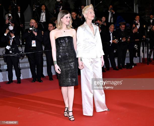 British actress Tilda Swinton and her daughter Honor Swinton Byrne arrive for the screening of the film 'Parasite' at the 72nd annual Cannes Film...