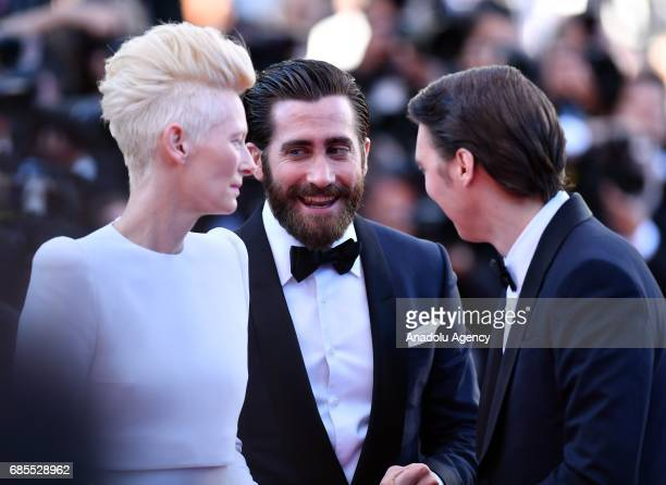 British actress Tilda Swinton and US actor Jake Gyllenhaal arrive for the screening of the film 'Okja' in competition at the 70th annual Cannes Film...