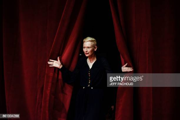 British actress Tilda Swinton arrives for the opening ceremony of the 9th edition of Lumiere film festival on October 14 2017 in Lyon central eastern...