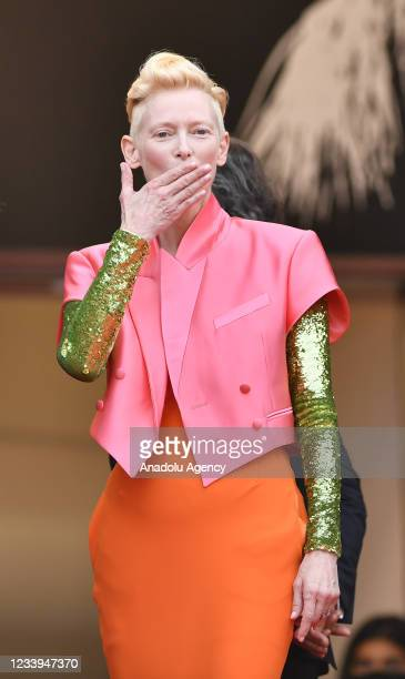 British actress Tilda Swinton arrives for the screening of the film âThe French Dispatch' in competition at the 74th annual Cannes Film Festival in...