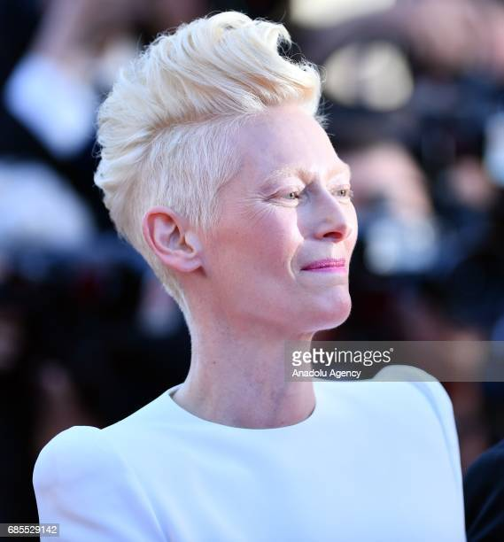 British actress Tilda Swinton arrives for the screening of the film 'Okja' in competition at the 70th annual Cannes Film Festival in Cannes France on...