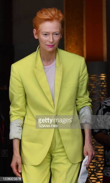 """British actress Tilda Swinton arrives to attend a photocall for the film """"The Human Voice"""" presented out of competition on the second day of the 77th..."""
