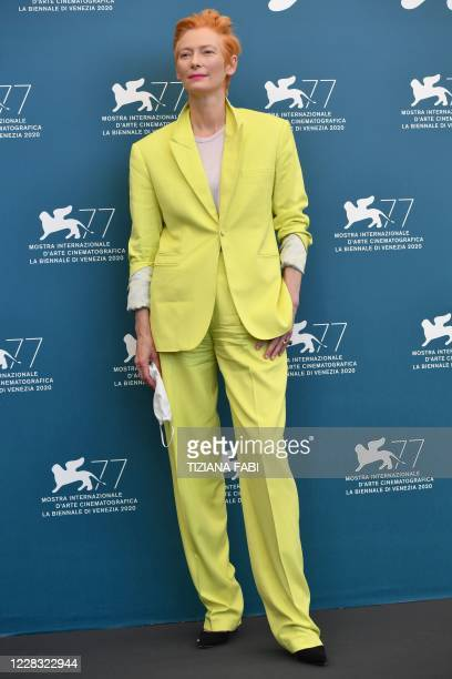 """British actress Tilda Swinton attends a photocall for the film """"The Human Voice"""" presented out of competition on the second day of the 77th Venice..."""