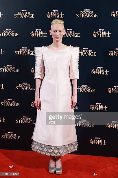 British actress Tilda Swinton attends the premiere of American director Scott Derrickson's film 'Doctor Strange' on October 16 2016 in Shanghai China