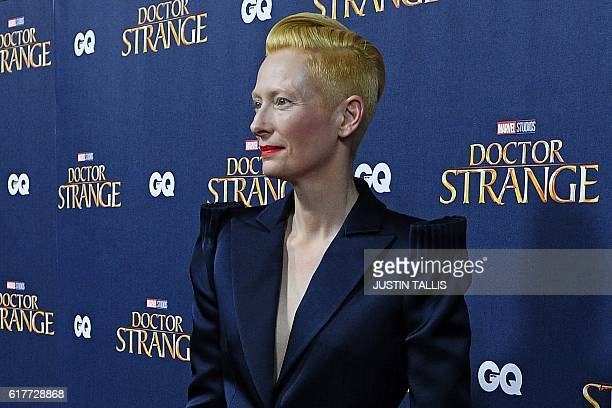 British actress Tilda Swinton poses for photographers upon arrival at a launch event for the film Doctor Strange at Westminster Abbey in central...