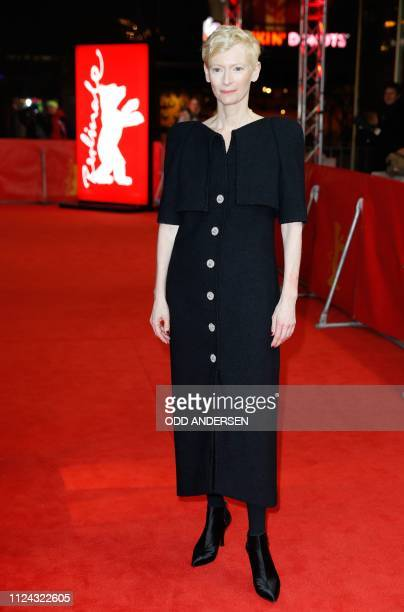 "British actress Tilda Swinton poses on the red carpet ahead of the screening for the film ""The Souvenir"" at the 69th Berlinale film festival on..."
