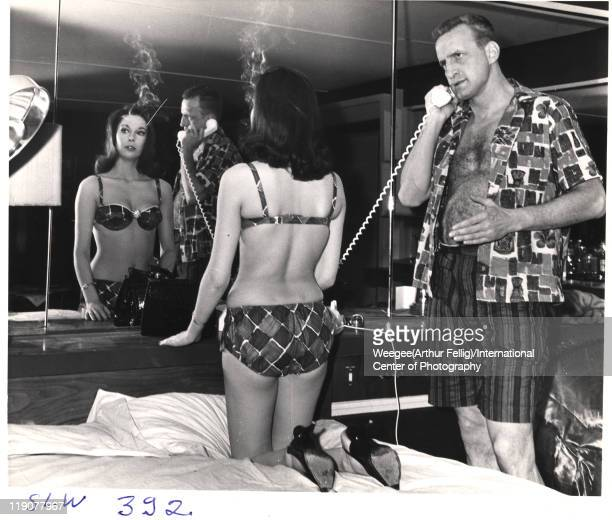 British actress Tracy Reed and American actor George C. Scott on the set of the movie 'Dr. Strangelove, Or How I Learned to Stop Worrying and Love...