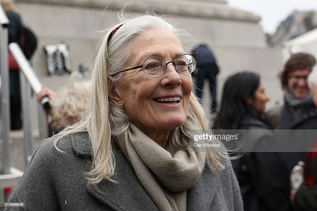 British actress Vanessa Redgrave, CBE joins Demonstrators after a 'Stop Trident' march in Trafalgar Square on February 27, 2016 in London, England. The leaders of three political parties will attend the march today. Labour leader Jeremy Corbyn, SNP leader Nicola Sturgeon and Plaid Cymru leader Leanne Wood are expected to speak to thousands of protesters in support of the Stop Trident campaign.