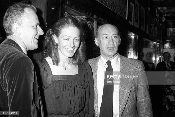 British actress Vanessa Redgrave stands with her former husband theatre director Tony Richardson and company manager William Conn at Gallagher's...