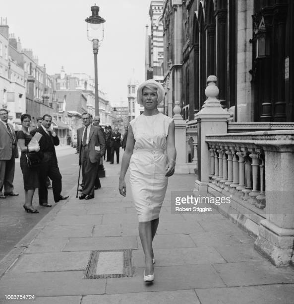 British actress Vera Day leaving the Royal Courts of Justice after successfully being granted divorce from her husband London UK 25th July 1961
