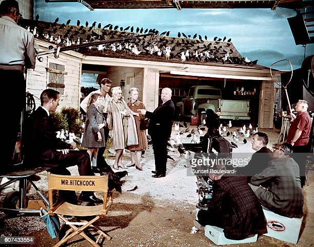 British actress Veronica Cartwright, Australian actor Rod Taylor, American actress Tippi Hedren and British Jessica Tandy with director and producer...