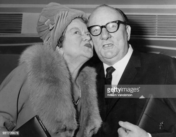 British actress Violet Carson who played Ena Sharples in the television soap opera 'Coronation Street' with actor Billy Cotton at the Variety Club...
