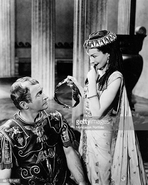 British actress Vivien Leigh as Cleopatra smiling at British actor Claude Rains as Caesar in the film Caesar and Cleopatra Great Britain 1945
