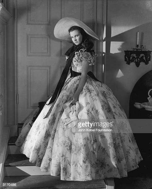 British actress Vivien Leigh in costume for her role as Scarlett O'Hara in the American civil war epic 'Gone With the Wind'