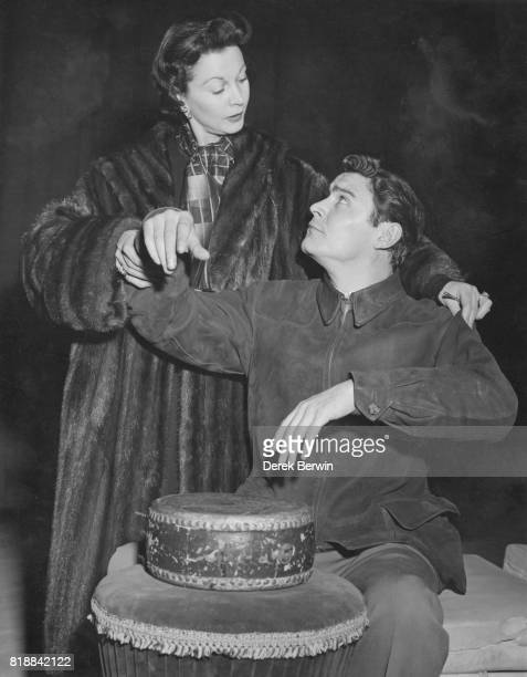 British actress Vivien Leigh with costar Ronald Lewis rehearsing for the play 'South Sea Bubble' at the Globe Theatre in London 25th February 1956