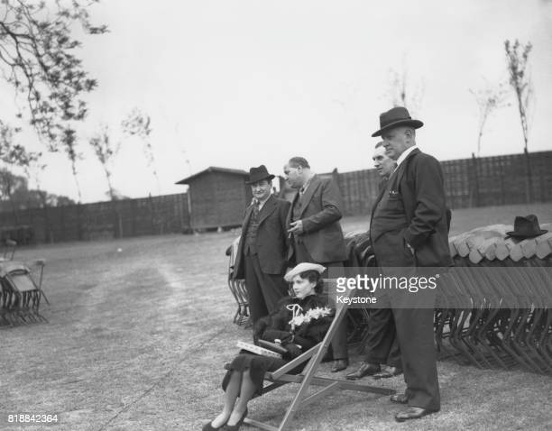 British actress Vivien Leigh with costars Robert Atkins and Sydney Carroll during rehearsals at the Open Air Theatre in Regent's Park London May 1935