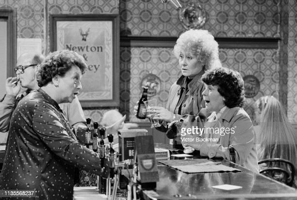British actresses Betty Driver Liz Dawn and Lynne Perrie in the 'Rovers Return' pub on the set of British soap opera Coronation Street UK 22nd...