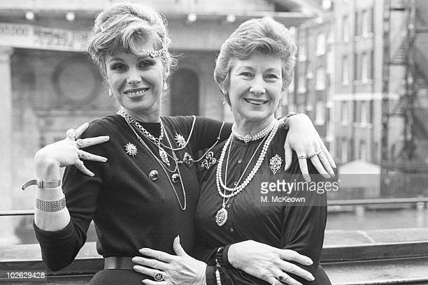 British actresses Joanna Lumley and Dinah Sheridan show off some jewellery on January 11 1984