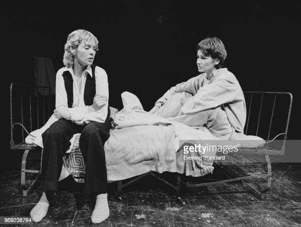 British actresses Julia Foster and Susannah York , during a scene of the play 'The Singular Life of Albert Nobbs', New End Theatre, London, UK, 4th...