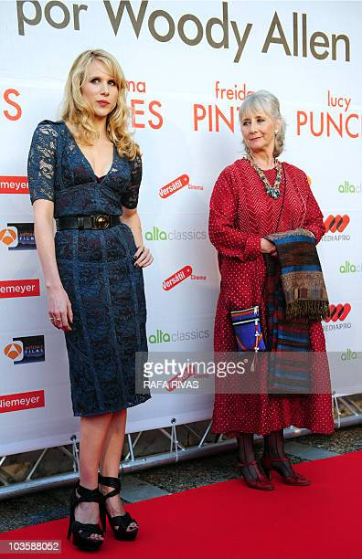 British actresses Lucy Punch and Gemma Jones pose on the red carpet as they arrive at the premiere of Woody Allen's latest film �You Will Meet a Tall...