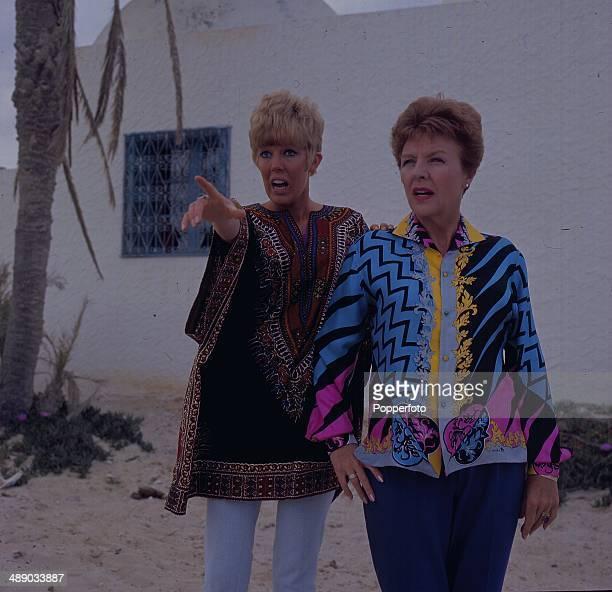 British actresses Noele Gordon and Sue Nicholls on location filming an episode of the soap opera 'Crossroads' in Djerba, Tunisia in 1967.