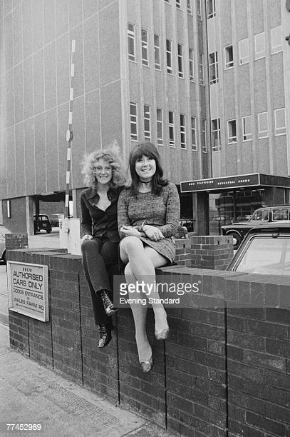 British actresses Polly James and Nerys Hughes the stars of British sitcom 'The Liver Birds' pose outside the BBC Television Rehearsal Rooms on...
